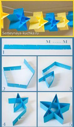 Paper Crafts Origami, Diy Paper, Paper Crafting, Origami Xmas, Origami Owl, Retro Christmas Decorations, Paper Decorations, Diy For Kids, Crafts For Kids