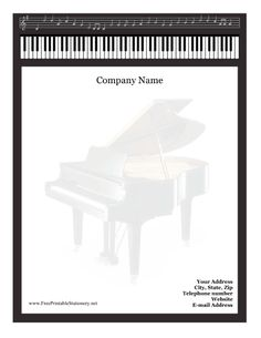 The black border of this free, printable stationery is made up of a music staff full of notes and black and white piano keys. It is great as letterheads for companies that offer musical services or sell instruments. Free to download and print