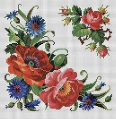 Flowers pattern embroidery watches Ideas for 2019 Cross Stitch Rose, Cross Stitch Borders, Cross Stitch Flowers, Cross Stitch Charts, Cross Stitch Designs, Cross Stitching, Cross Stitch Embroidery, Embroidery Patterns, Cross Stitch Patterns
