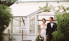Weddings at the beautiful Los Poblanos Inn & Farm in Albuquerque are a sight to behold   Edible Austin Wedding Guide   Couple in front of greenhouse by Pat Furey.