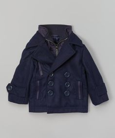 Navy Zip-Up Peacoat - Infant, Toddler & Boys by London Fog #zulily #zulilyfinds