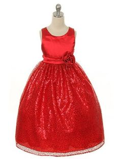 ed656ffc733d Buy Red Flower Girl Satin Shimmer Glitz Christmas Dress on sale now. Shop  the childrens dress shop for fast shipping and newest styles in childrens  wear.