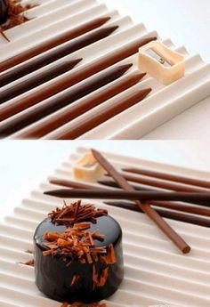 Chocolate pencils. I need to figure out how to make these or where to buy them. These would be lovely for decorating desserts.