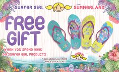 "Dapatkan FREE sandal + sticker untuk pembelian produk SURFER GIRL senilai Rp 999.000,- Mulai berlaku tanggal 1 – 31 Agustus 2015 Happy shopping  "" Bali World Premier Beach Mall "" Discovery Shopping Mall, Jl. Kartika Plaza, Kuta 80361 Phone : 0361 755522 Website : www.discoveryshoppingmall.com https://twitter.com/DISCOVERY_Bali http://pinterest.com/dsmbali http://instagram.com/dsmbali http://www.facebook.com/pages/discovery-shopping-mall…"