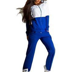 Jaycargogo Womens Casual Solid Sport Jogging Sweatshirt ans Pant Tracksuit