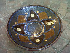 Mosaic bowl in browns by Lisa B