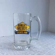 Glass Sports Fan Mug / Vintage Glass Stein for the World's Greatest Sports Fan by vintagepoetic on Etsy