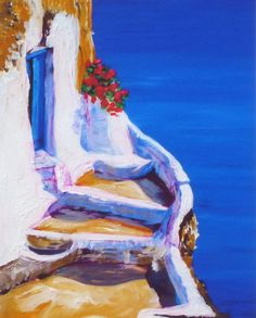 Blue Ocean Blue Door - Summer Painting Greece Santorini - Print of Original Oil Painting by Tina Petersen
