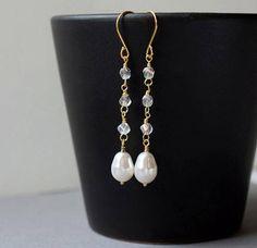 Swarovski Pearl Earrings Pearl Teardrop Earrings White Pearl