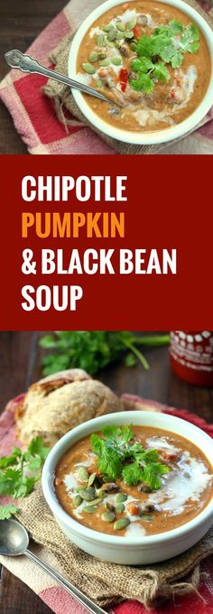This creamy pumpkin black bean soup is made with a rich coconut milk base and flavored with smoky chipotle pepper and a hint of cinnamon.