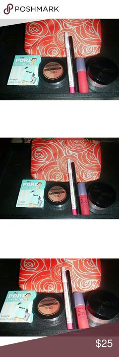 New Makeup Lot, Bag, Jamberry Nail Wraps All items are new and untested. Includes Benefit The Pore Professional 3.0 ml Tarte wonder lip surgence  lip cream City Color Eyeshadow Trio in falling leaves Skone Pretty Eyes Automatic eyeliner in plum Model Co Illusion Lip Liner  Bella Pierre Cosmetics mineral blush in Desert Rose Ipsy Bag Jamberry Nail Wraps in hearts aplenty ( 5 missing )   Selling as a lot  Bundles welcome. Benefit Makeup