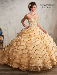 c44be109988 Ruffled Quinceanera Dress by Mary s Bridal Alta Couture 4T191
