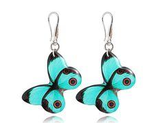 Turquoise butterfly earrings Dangle silver by DragonPorter on Etsy