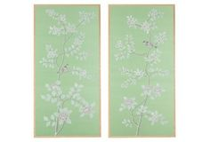 Magnolia Silk Panels On Celedon Silk