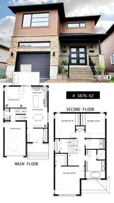 Modern house plan, 2 storey-home plan for narrow-lot, with garage, 3 bedrooms, open layout, laundry room on second floor