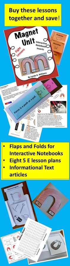 This complete unit on magnets has lessons plans, informational text articles, response pages and Interactive Notebook flaps and folds. Includes science background information for the teacher!