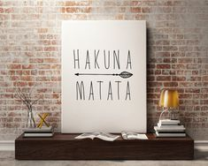 """Funny quote """"Hakuna Matata"""" Typography quote Typographic print Digital art print Wall artwork Instant download Black and White art"""