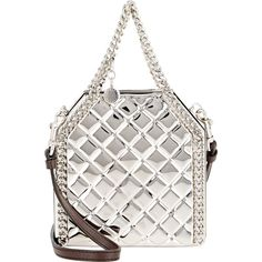 Stella McCartney Falabella Tiny Minaudiere found on Polyvore featuring bags, handbags, clutches, colorless, white handbags, stella mccartney handbags, chain strap purse, stella mccartney and white clutches