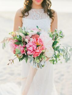 stunning pink and white peony bouquet from Wildflowers by Design