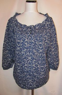 Talbots size Large Blouse New Top Navy Blue Gray Cotton Peasant Pleats Boho #Talbots #Blouse #Casual