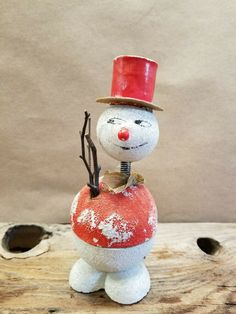 """1940's Vintage Antique Snowman Spring neck Candy Container 6.5"""" Christmas Items, Christmas Tree Ornaments, Vintage Christmas, Snowman Decorations, Candy Containers, 1940s, Vintage Antiques, Things To Sell, Holiday Decor"""