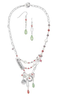 Triple-Strand Necklace and Earring Set with Swarovski Crystal Beads and Drops and Sterling Silver Charms, Links and Chain