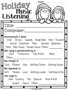 FREE CHRISTMAS MUSIC LISTENING WORKSHEETS - TeachersPayTeachers.com