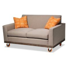 Shop for Detroit Loveseat with Tangerine Wheels by Michael Amini. Get free shipping at Overstock.com - Your Online Furniture Outlet Store! Get 5% in rewards with Club O! Small Space Living, Small Spaces, Eclectic Style, Love Seat, Detroit, Home Furnishings, Upholstery, Small Living, Small Living Spaces