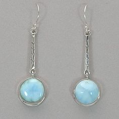 """Larimar and Sterling Silver Earrings.  Round larimar, suspended from a textured sterling silver rod. Measures 1 7/8"""" L x 1/2"""" in diameter."""