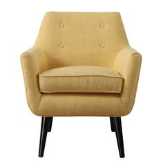Hand-crafted Mustard Yellow Linen Chair with Button Tufting |