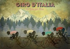 Retro Cycling Poster - Giro D'italia Original graphic poster art designed in The Northern Line studio in Ulverston, Cumbria. We ship worldwide. #cycling #posters #graphicart