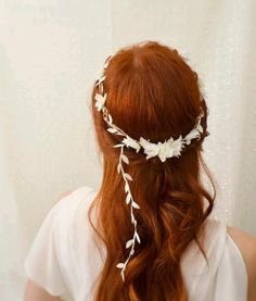 Hair Decor- White flower crown, floral circlet, leaf head wreath, wedding hair accessories - dove song