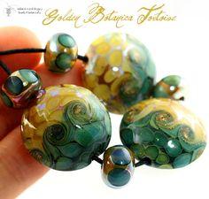 Handmade Lampwork  Golden Botanica Tortoise Set  Goldstone Aventurine sparkles bring the bling to this golden garden party :)