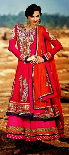 409368, Party Wear Salwar Kameez, Georgette, Stone, Thread, Lace, Resham, Red and Maroon Color Family