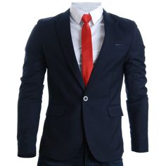 FLATSEVEN Mens Designer Slim Fit Stylish Peaked Lapel Blazers (BJ301)