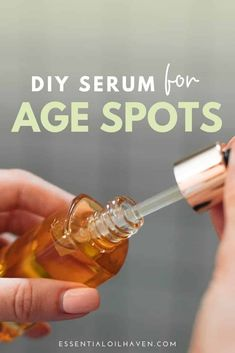 Top 5 essential oils for age spots: Frankincense, Sandalwood, Lavender, Rosemary, Lemon. Combine them with a potent carrier oil in this DIY serum recipe. Age Spots Essential Oils, Essential Oil Carrier Oils, Essential Oil Blends, Sandalwood Essential Oil, Frankincense Essential Oil, Lemon Essential Oils, Age Spot Treatment, Acne Treatment, Skin Treatments