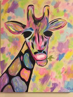 Acrylic Painting on canvas by Lisa Fontaine. Abstract. Giraffe. Animal. Nursery.