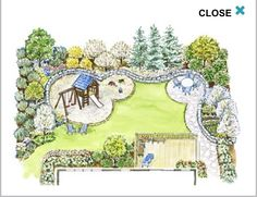 Family Backyard Recreation and entertaining are the top priorities in this shallow but private backyard landscape plan.A Family Backyard Recreation and entertaining are the top priorities in this shallow but private backyard landscape plan. Backyard Layout, Backyard Plan, Backyard Ideas, Backyard Playground, Backyard Patio, Cement Patio, Backyard Ponds, Backyard Seating, Flagstone Patio