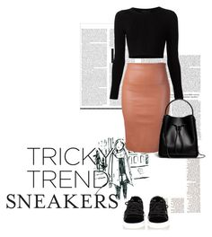 """""""Pencil skirts and sneakers."""" by aishwarya-2302 ❤ liked on Polyvore featuring Cushnie Et Ochs, Brunello Cucinelli, 3.1 Phillip Lim, black, bag, brown, sneakers and pencilskirt"""