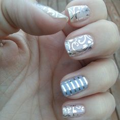 Jamberry Silver Floral and grey and silver pinstripe, great for weddings and other special occasions. Uñas Jamberry, Jamberry Nail Wraps, Nail Manicure, Nail Polish, Claw Nails, Silver Nails, Nail Envy, Cute Nail Designs, Nails Inspiration