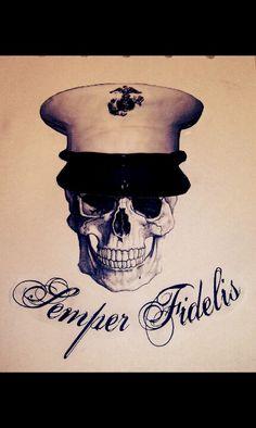 A tattoo I designed for a Marine friend of mine. Semper fidelis