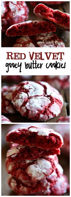 Red Velvet Gooey Butter Cookies... these cookies look so seriously fattening but maybe a good something for Christmas :)