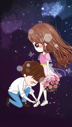 Let me tie your shoes, because I don't want you to fall on other people💕 Love Cartoon Couple, Chibi Couple, Cute Love Cartoons, Anime Couples, Cute Couples, Cute Couple Wallpaper, Wallpaper Fofos, Couple Drawings, Love Images