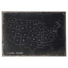 """Weathered chalkboard-inspired map decor.   Product: Chalkboard map    Construction Material: Canvas, chalkboard and wood    Color:  Black and white    Features: Weathered finish   Dimensions: 34"""" H x 48"""" W x 1.75"""" D  Note: Chalk not included"""