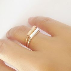 Dainty Ring with Silver / Gold Bar, Minimalist Jewelry, Stacking Ring, Birthday Gift, Everyday Jewelry