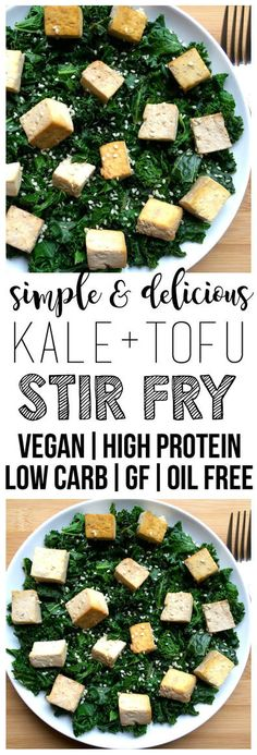Simple Kale Tofu Stir Fry (Low-Carb, Vegan, Gluten-Free, High-Protein, Oil-Free)
