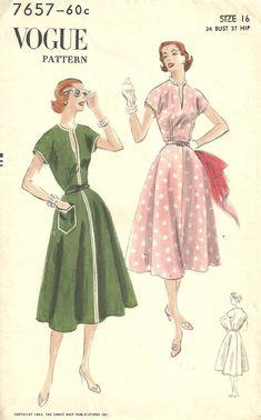 Vogue 7657 Vintage 50s Sewing Pattern // Dress by studioGpatterns