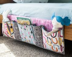 GENIUS idea for adding storage pockets to your bed! This would work great on kid
