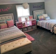 Shared girls room - Super Creative teenage girl bedroom ideas in blue just on omah home design Twin Girl Bedrooms, Sister Bedroom, Girls Bedroom, Bedroom Decor, Twin Girls, Twin Bedroom Ideas, Bedroom For Twins, Nursery Ideas, Warm Bedroom