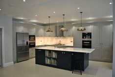 Luxury Kitchen Design Layout L Shaped Island Open Plan Kitchen Dining Living, Open Plan Kitchen Diner, Living Room Kitchen, Kitchen Island Ends, Kitchen Island With Sink And Dishwasher, Double Oven Kitchen, Kitchen Layouts With Island, Kitchen Tall Units, Kitchen Larder Cupboard